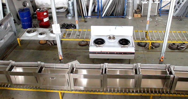 Quy trình sản xuất bếp á quạt thổi tại xưởng